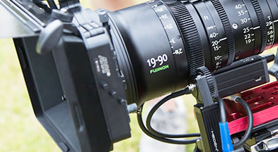 [photo] Close-up view of the logo etched side of FUJINON 19-90 ZK Series lens