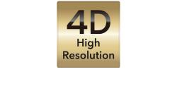 [logo] 4D text above High Resolution text on a golden background