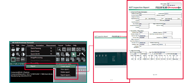 [image] Software screenshots of how to create a report using the Create a report menu item, subsequent screen and sample report highlighted in red
