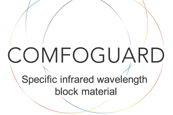 [fotoğraf] Ortada COMFOGUARD metni ve altta özgün Kızılötesi dalga boyu blok malzeme metni bulunan çok renkli ince kenarlı iç içe daireler