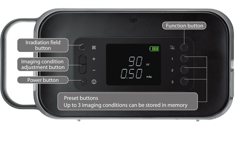 [fotoğraf] Güç düğmesi, Görüntüleme koşulu ayarlama düğmesi, Işınlama alanı düğmesi, İşlev düğmesi ve Ön Ayar düğmelerini içeren FD Xair cihazının düğme düzeni