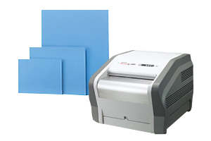 [photo] Computed Radiography System - DynamIx HR2 and Imaging plates with a white background