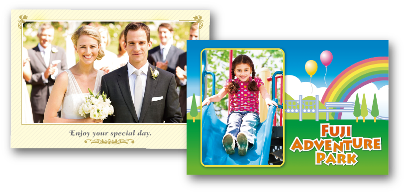 [photo] Wedding portrait template photo of bride and groom and an adventure park template photo of child going down a slide