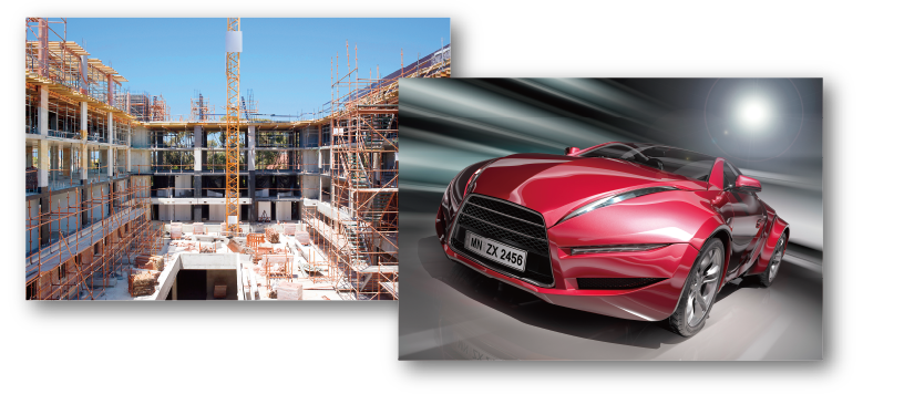 [photo] Construction site and a red, exotic sports car