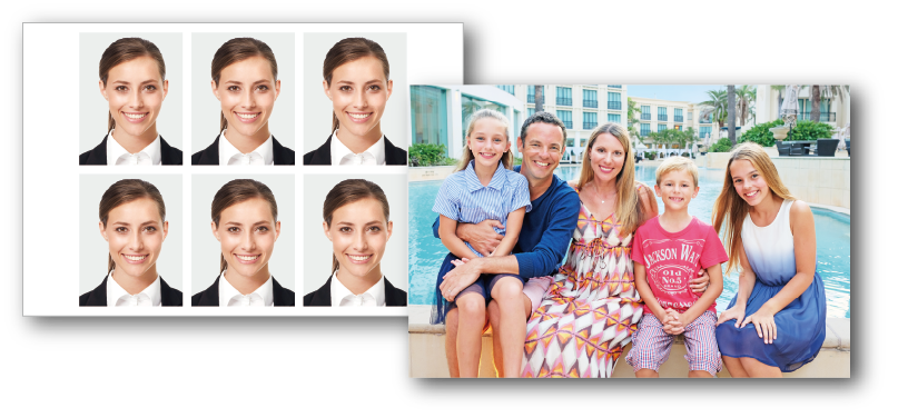 [photo] Two photos next to each other: a sheet of ID photos and a vacation portrait of a family in front of a pool