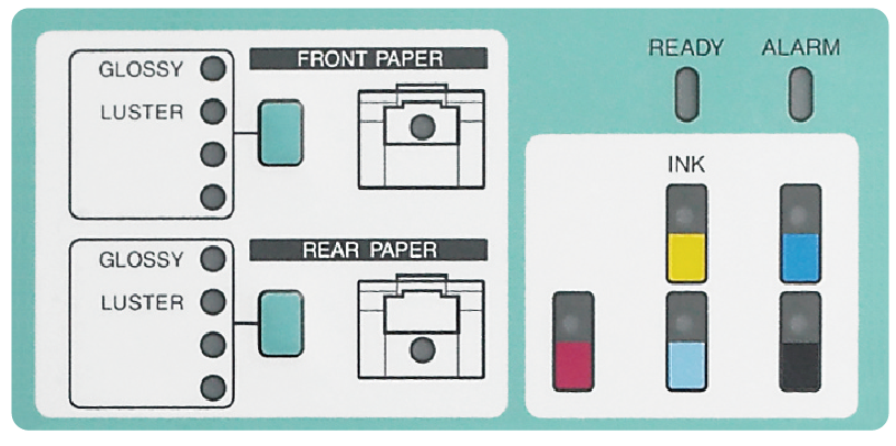 [photo] Frontier DL600 front operation panel displaying options for front and back of paper and lights for all 5 ink levels