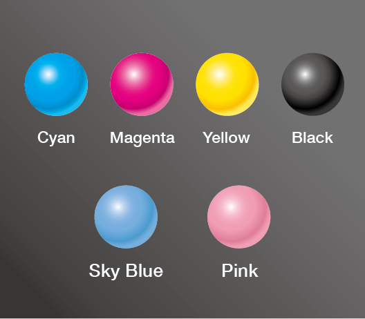[image] 6 Spheres of Cyan, Magenta, Yellow, Black, Sky Blue, and Pink against dark grey background