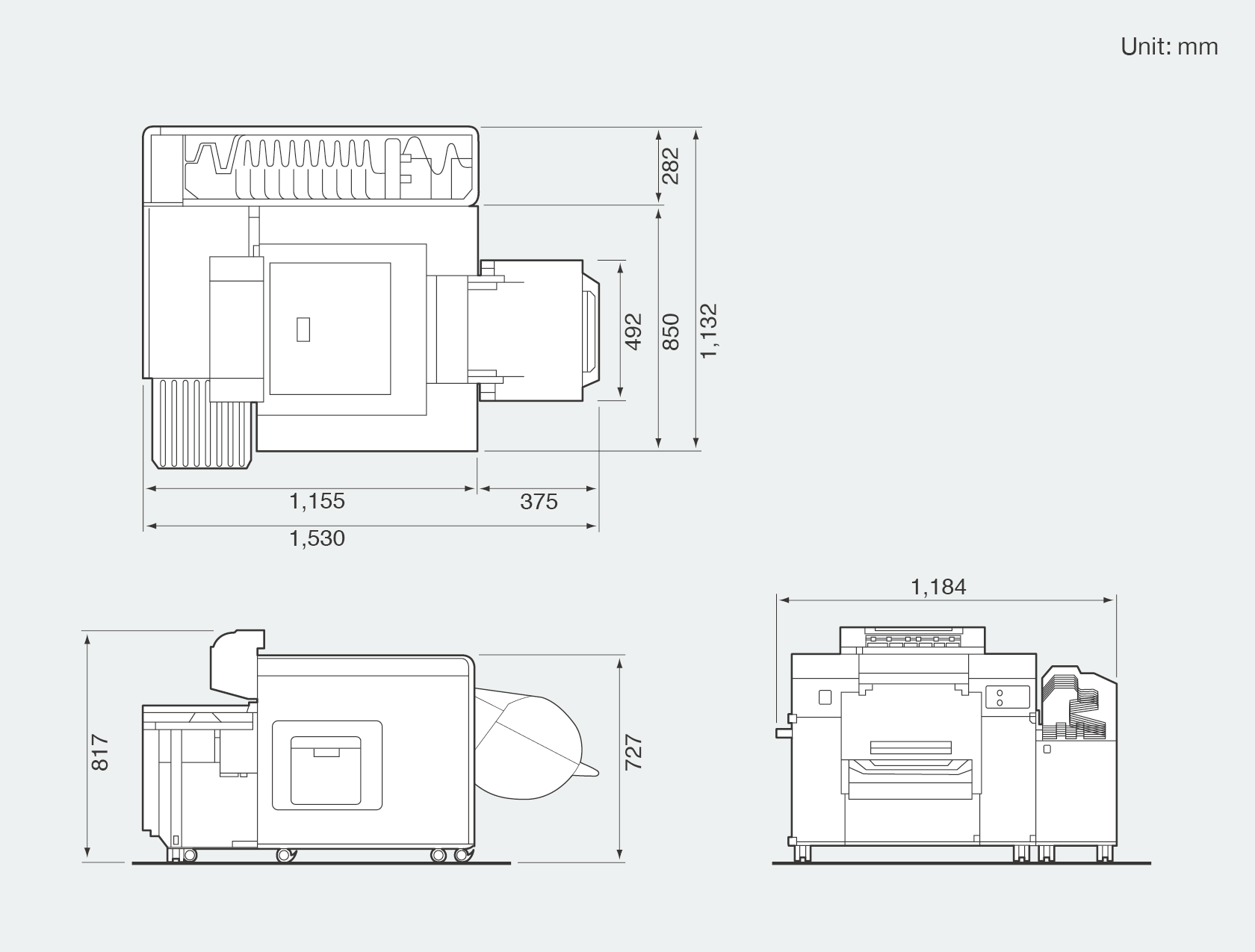 [image] Front, side, and top view graphic of Frontier DL600 which shows height, width, and depth dimensions