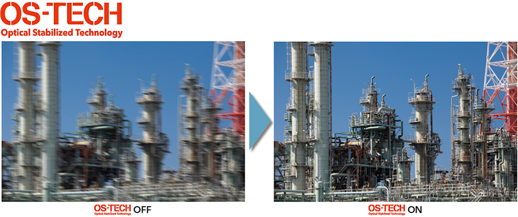 [photo] Blurry image of outdoor industrial buildings and equipment compared to a clear image of outdoor industrial buildings and equipment