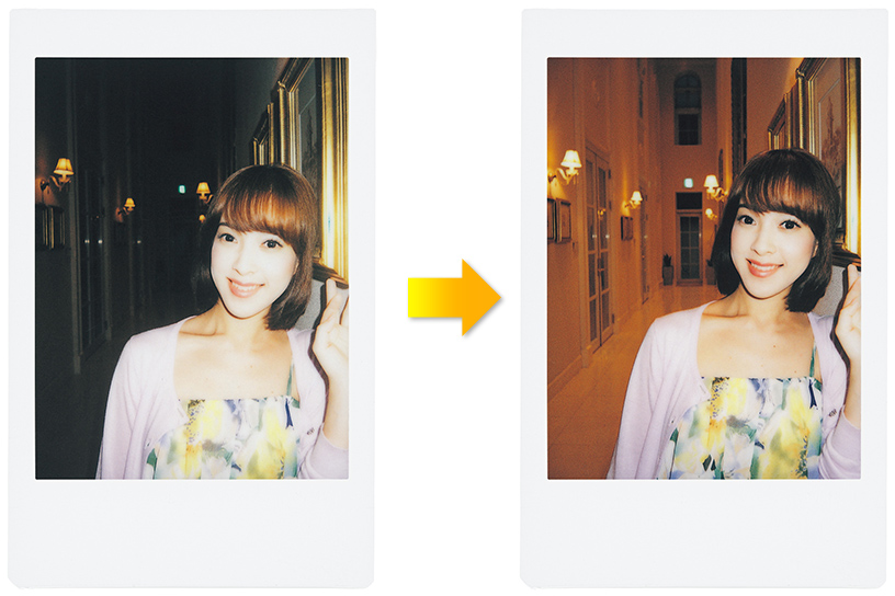 Image of two photos of girl in normal and Automatic Exposure Mode