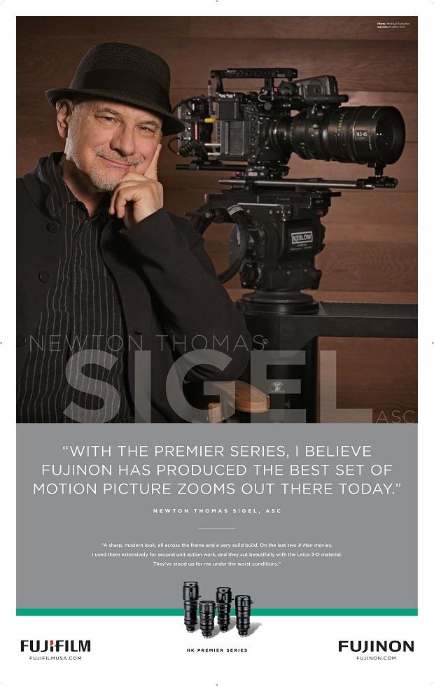 [photo] Testimonial from Newton Thomas Siegel posing infront of a cinema camera with a Fujinon lens