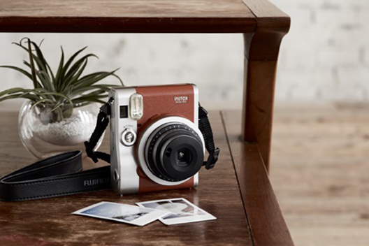 Brown mini 90 camera with two photos and small plant on table