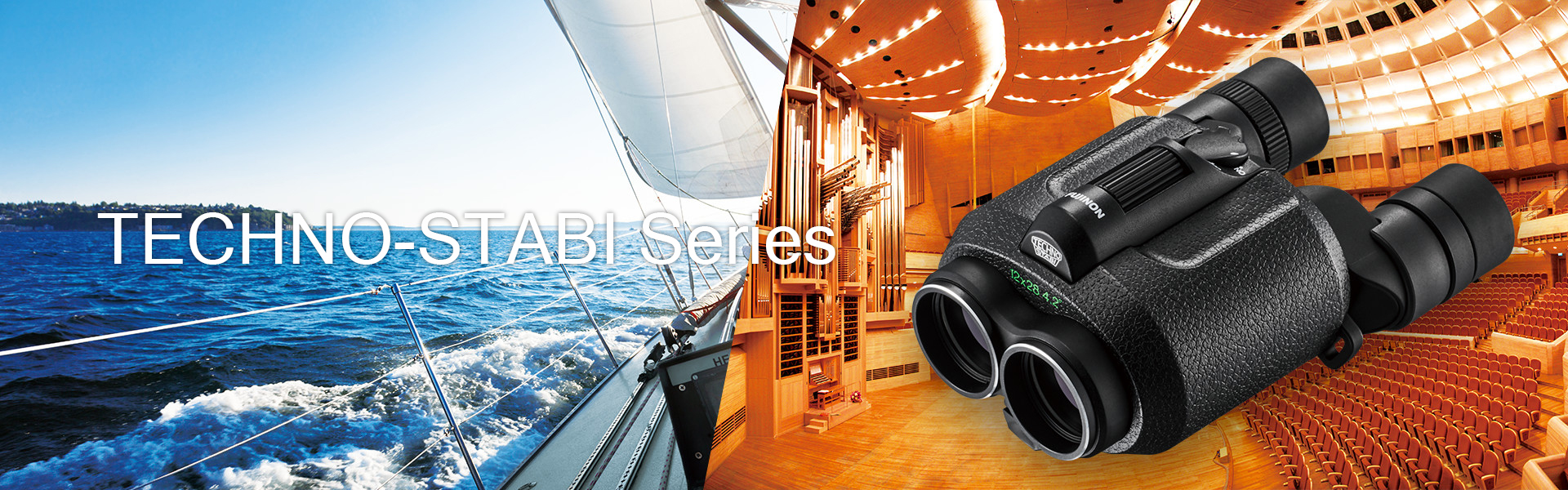 [photo] Boat ride on the ocean and TECHNO-STABI Series binocular with an indoor theatre background