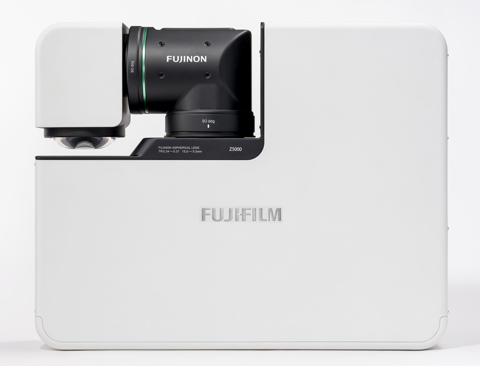 [photo] Top of white FP-Z5000 in compact position with projector lens swiveled closed