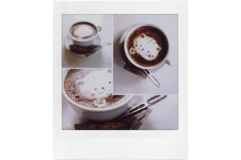 image of a single photo with three different angles images of a coffee with foam art of a cat face on top