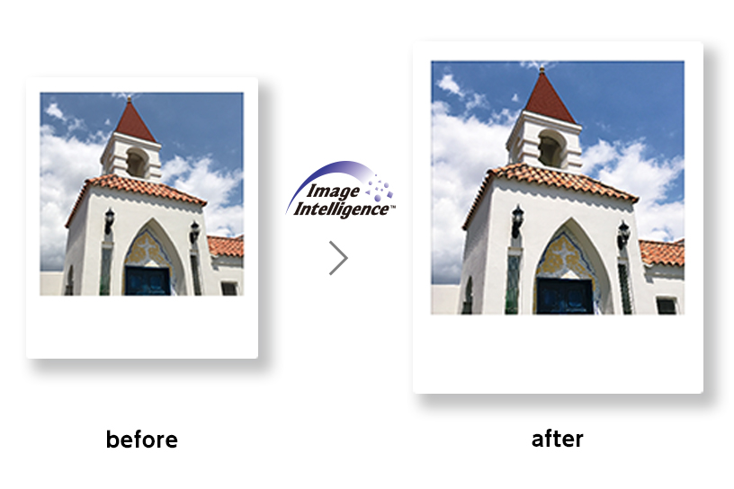 Before and After picture of a building showing Fujifilm Intelligence Filter