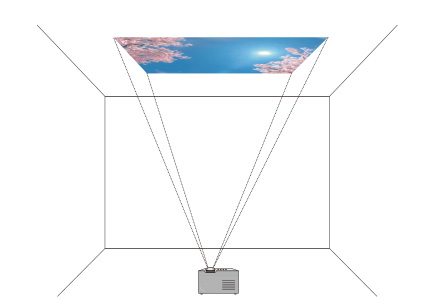 [image] Projector with lens facing upward, projecting image of sky unto ceiling