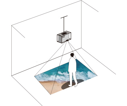 [image] Projector suspended from ceiling with lens facing downward, projecting image of ocean waves and sand unto floor and person casting shadow over image