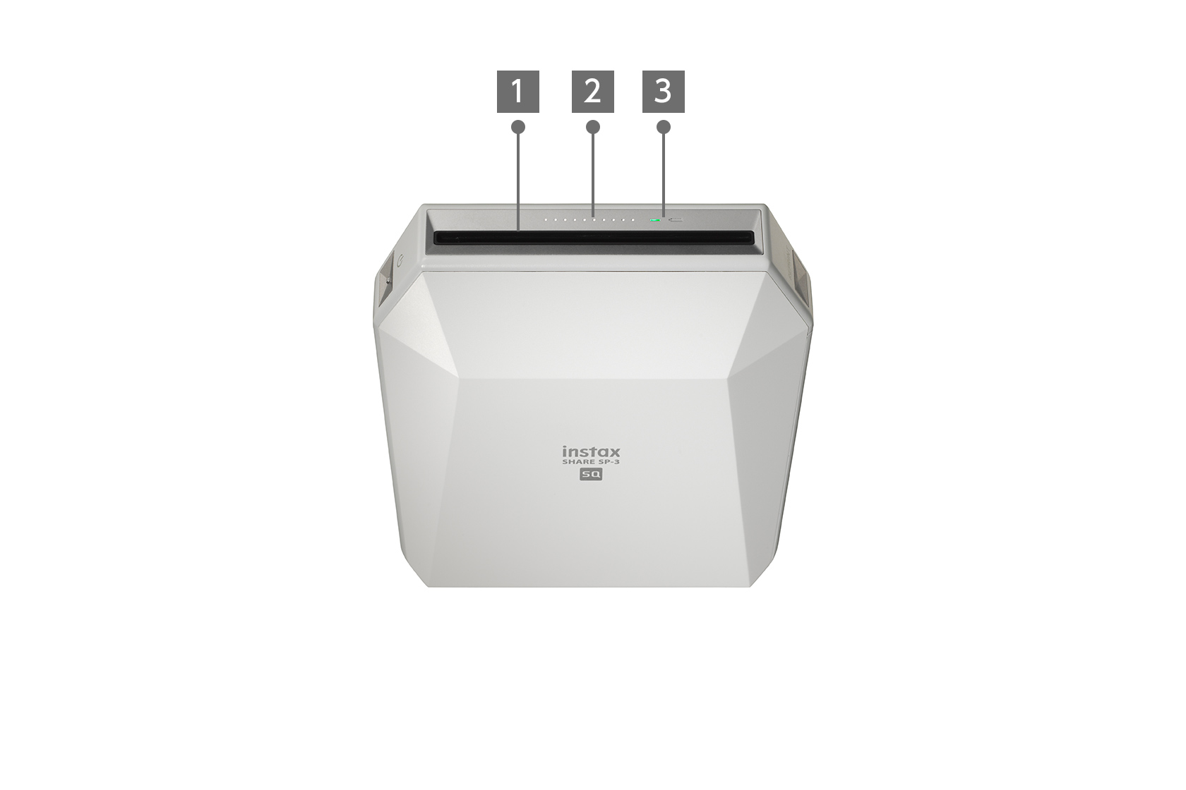 Top view of white INSTAX SHARE™ SP-3 printer