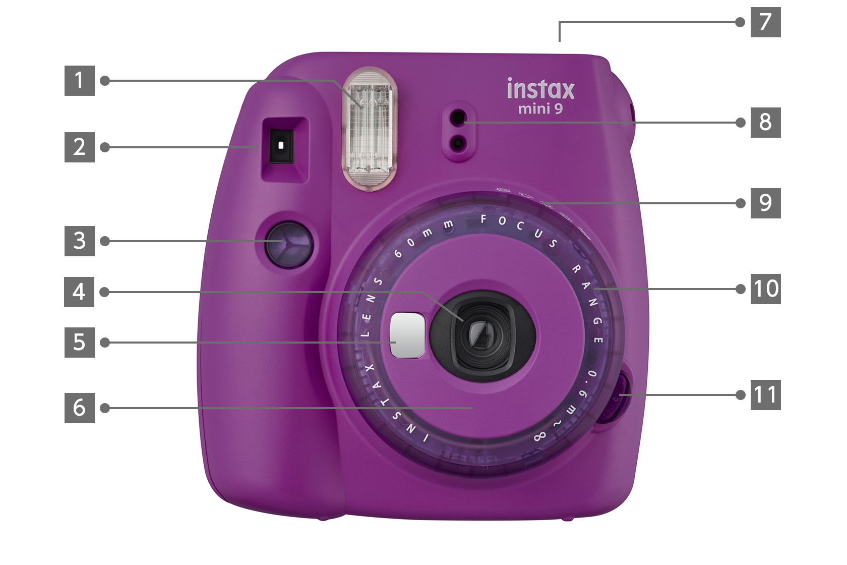 Front view purple mini 9 limited edition INSTAX camera