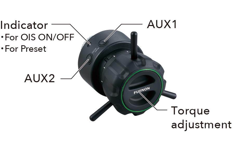 [photo] Digital Focus Demand Indicator lights, auxiliary 1 & 2, and torque adjustment