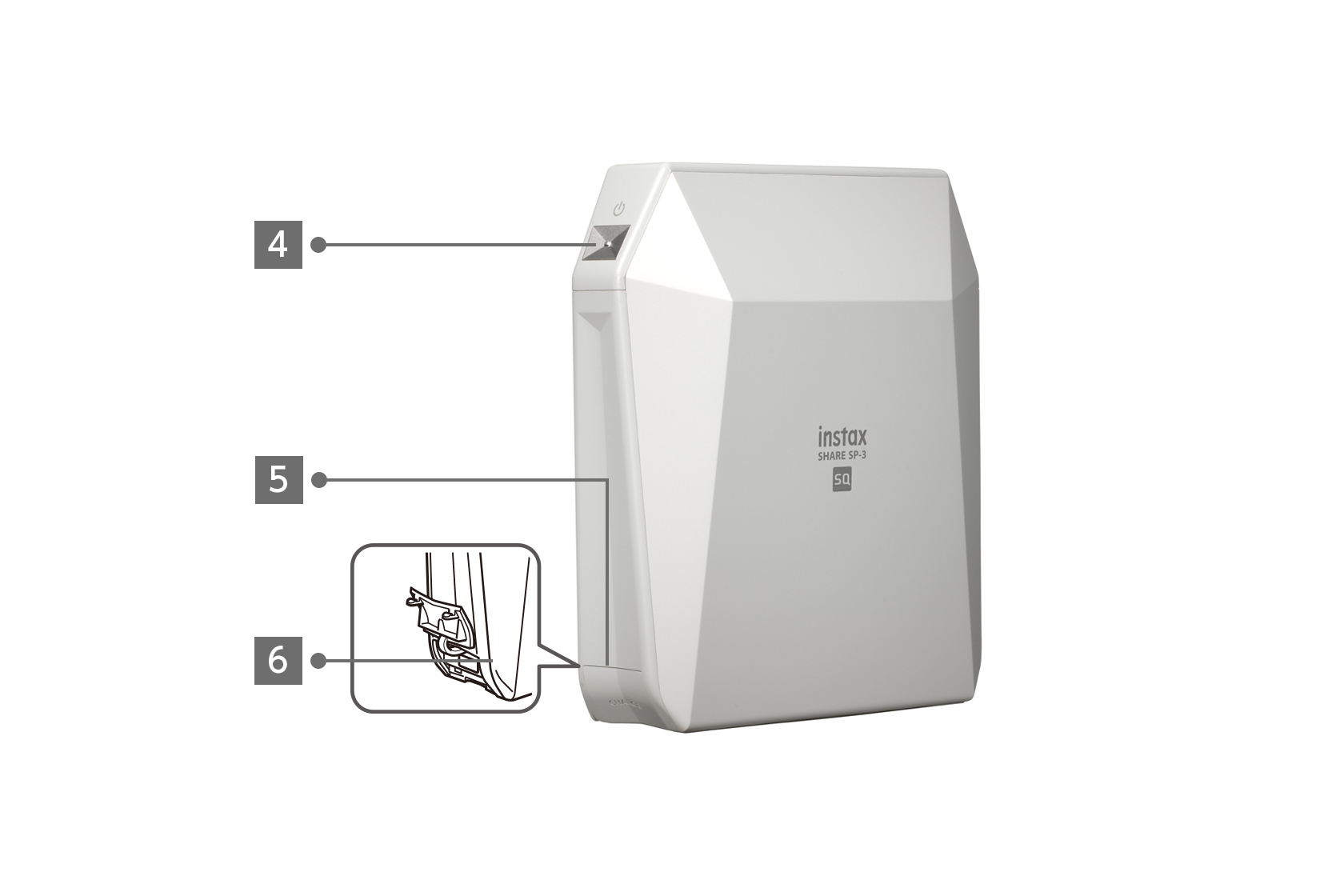 Side view of white INSTAX SHARE™ SP-3 printer