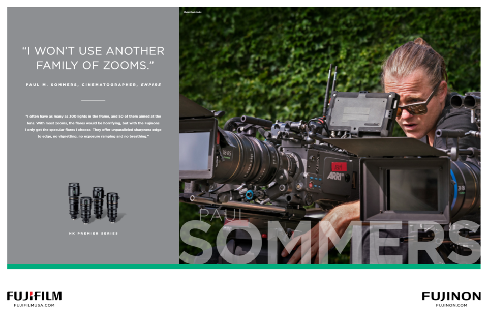 [photo] Cinematographer, Paul M. Sommers testimonial about the Fujinon lenses and a picture of him behing a camera on the right