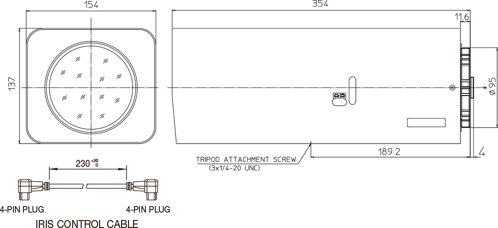 [photo] Schematic of zoom lens dimensions on side and front of equipment