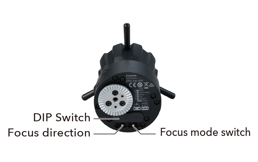 [photo] Digital Focus Demand DIP switch, focus direction, and focus mode switch