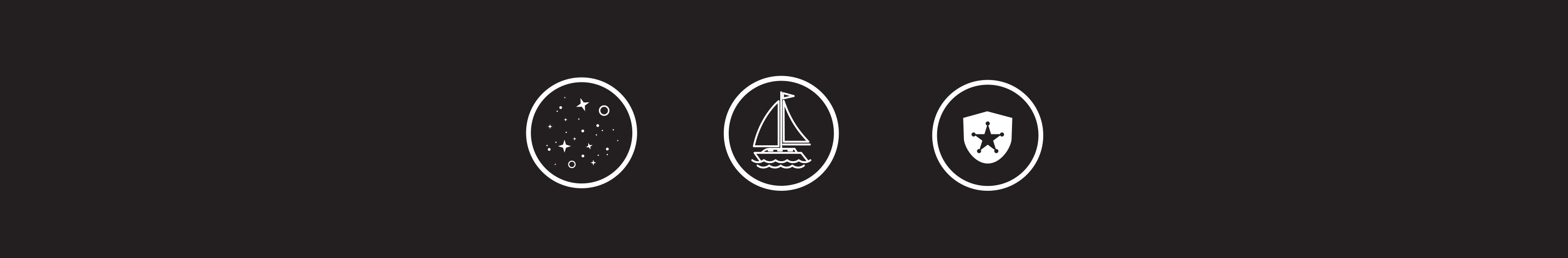 icons of stars, boat and shield with star