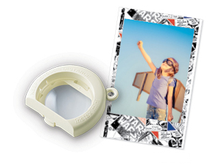 Image of Close-Up Lens Attachment and image of a boy with wings and glasses