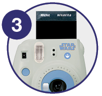 Zoomed in image showing instant photo shooting up - Step 3