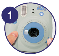 Zoomed in image showing how to turn camera on - Step 1