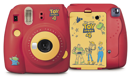 Front and back view of toy story 4 design of red mini 9 camera