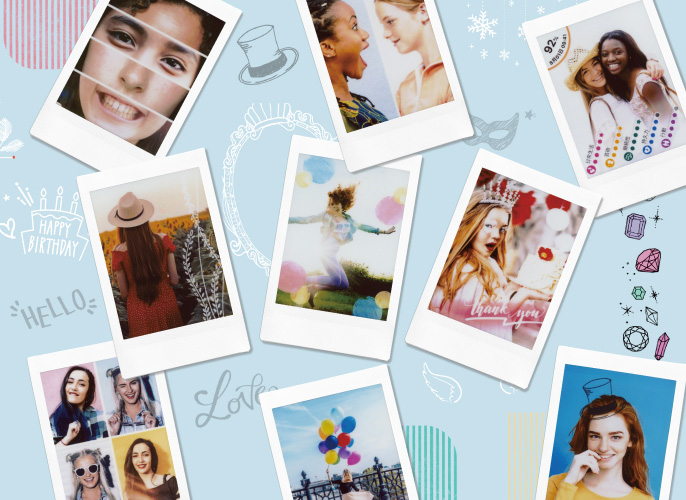 Collage of pictures over background