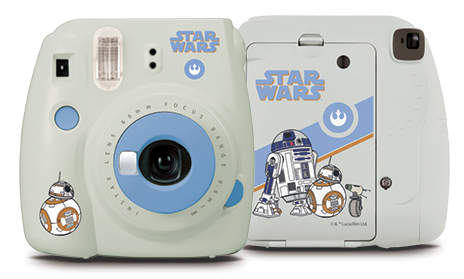 Front and back view of gray mini 9 camera with star war characters
