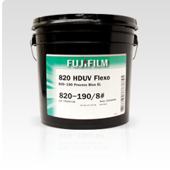 [photo] A bucket of Fujifilm 820 Series UV Flexo inks