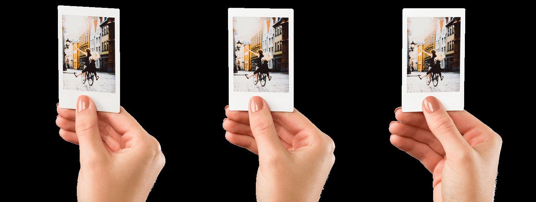 Image of 3 Mini film photos handheld