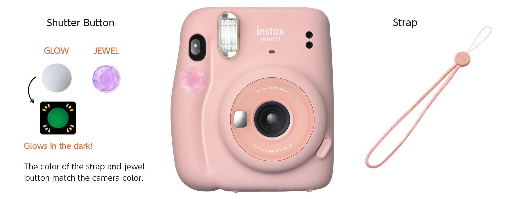 Image of pink Mini 11 with included two shutter button accessories and a strap