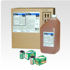 Traditional Minilab Film Chemicals Product Box and bottle