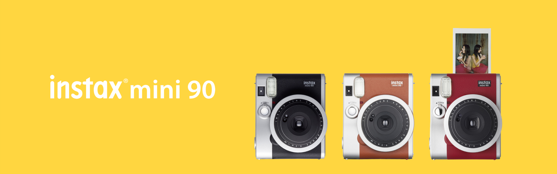 Yellow hero image with mini 90 cameras in different colors