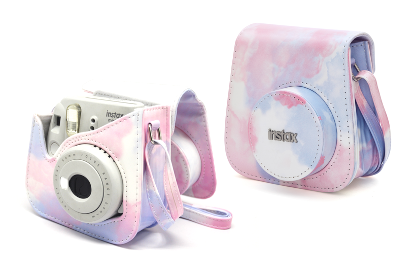 Side View - two Mini 9 pink marble camera cases, one open