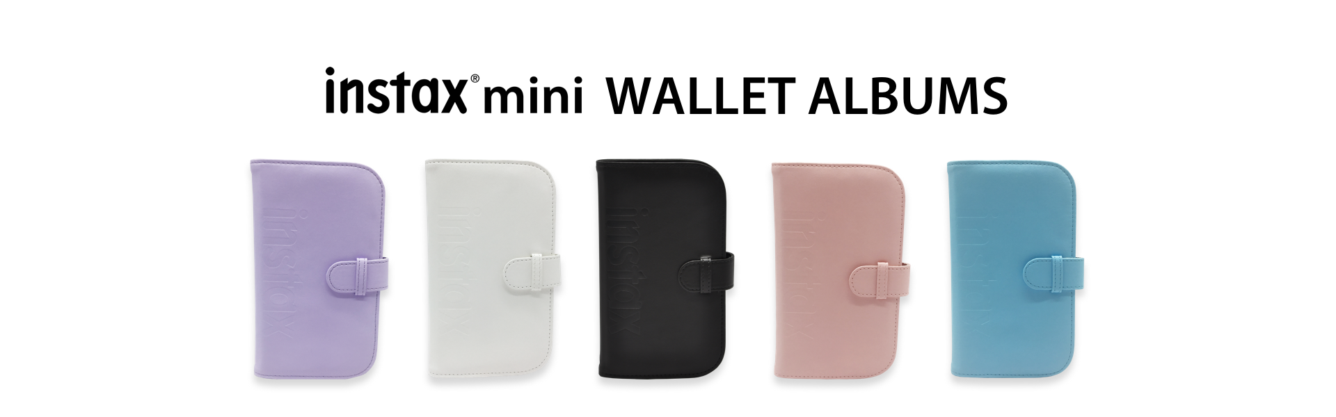 White Hero image with Mini Wallet Albums in different colors