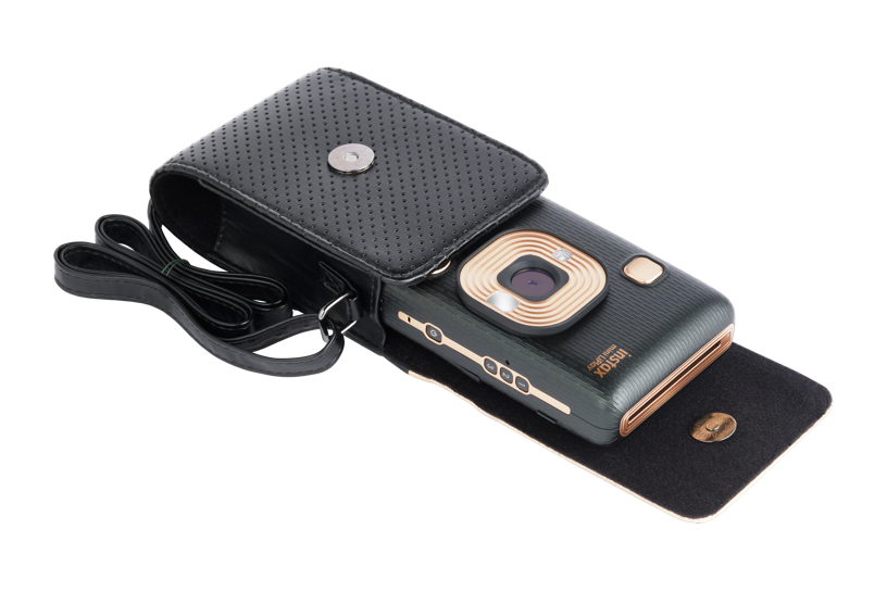 Black LiPlay Camera case open with camera in it