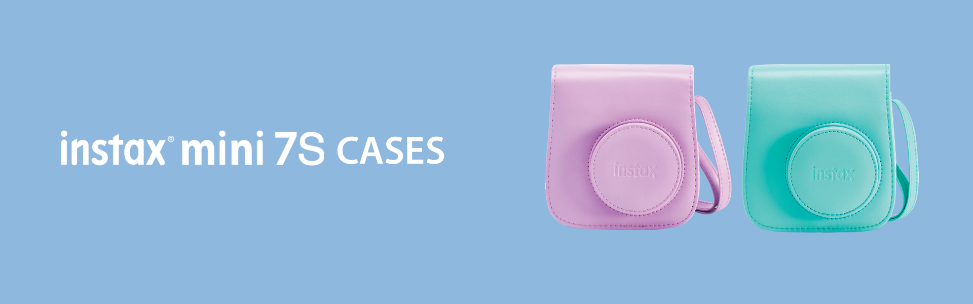 Blue Hero image with pink and green Mini 7S camera Cases