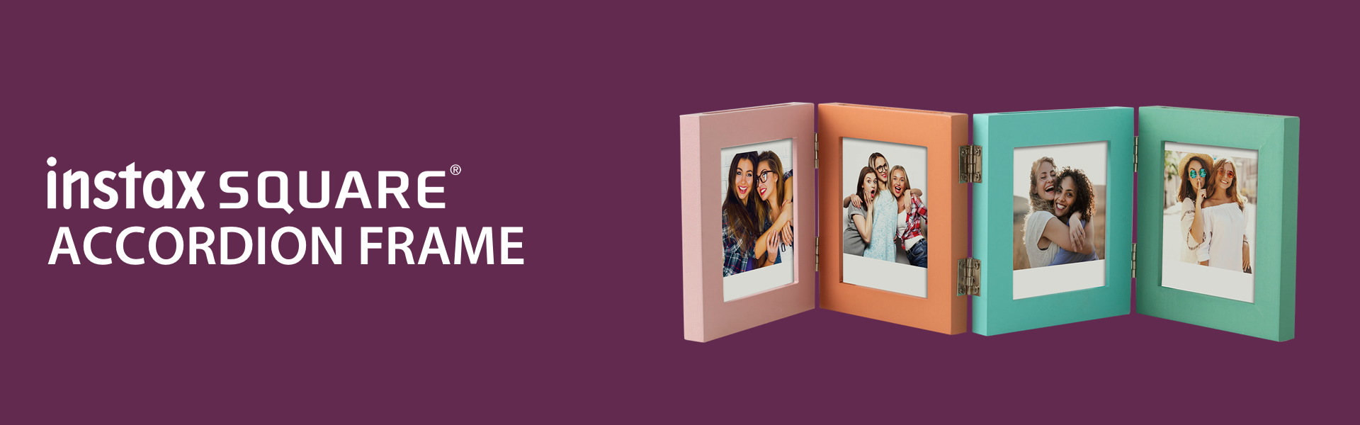 Plum color hero image with Square Accordion Frame