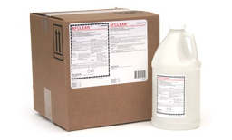 [photo] Fixer Systems Cleaner large, clear chemical bottle in front of cardboard box