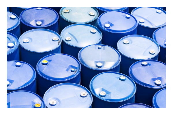 Collections of plastic blue barrels