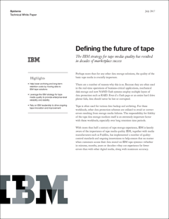 IBM Defining the Future of Tape