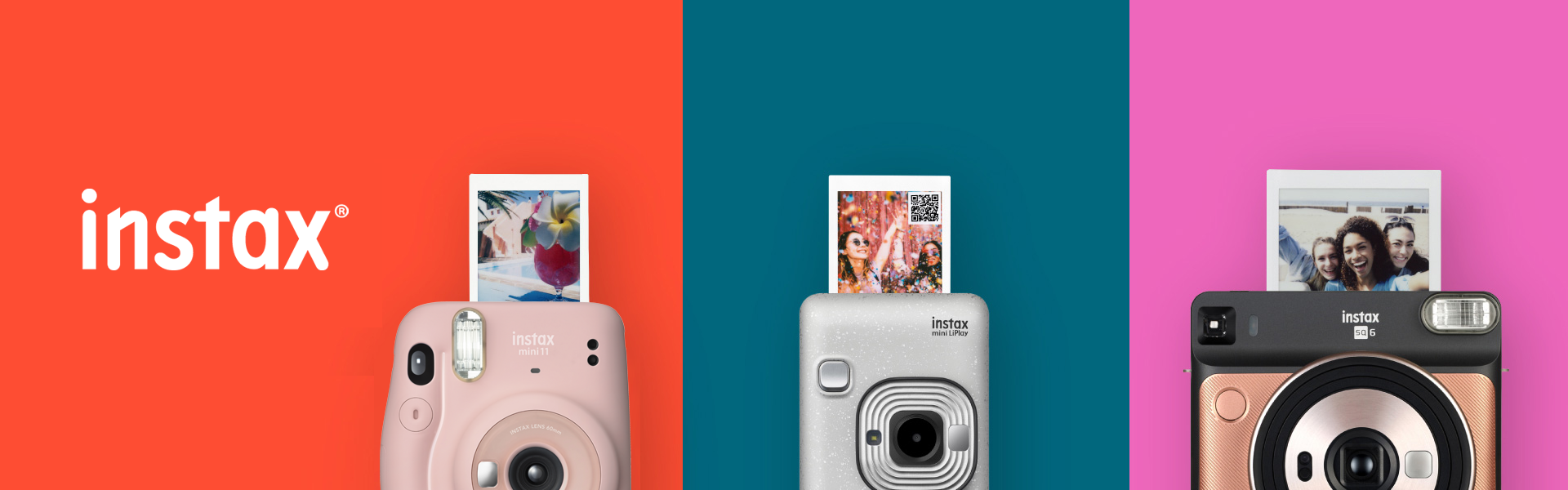 multi-color banner with pictures of cameras
